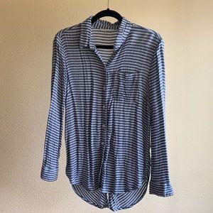 Long Stripe Button Down Shirt beachlunchlounge